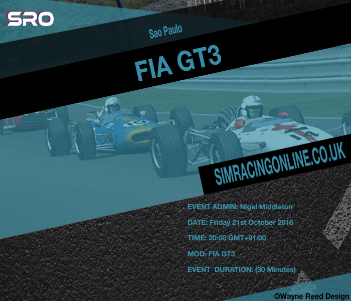 rFactor 2 - FIA GT3 Sao Paulo Friday 21st October 2016 20:00 GMT